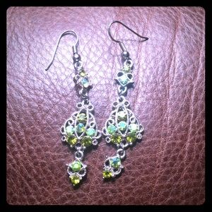 Green antique chandelier earrings
